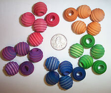 "25 Bird Toy Parts 3/4"" Colored Wood Beehive Beads Parrot Toy Parts w/ Hole"
