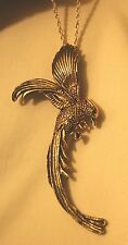 Gorgeous Line Etched Swooping Eagle Hawk Bird Antique Goldtone Necklace Brooch