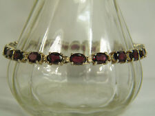 BRACELET:  MAGNIFICENT 22+ CTS OVAL CUT (7X5MM) RHODOLITE GARNET ANTIQUE SILVER