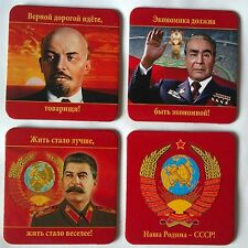 "4* Non-Slip Heat Resistant Mug Holder ""Soviet Leaders"" Table Wooden Mat"