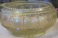 "Vintage IMPERIAL Rose Bowl ""Frosted Block"" White Carnival Glass Bowl 1920"