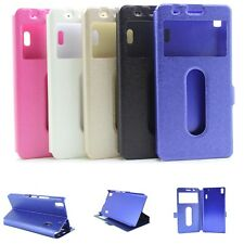 PU Leather Magnetic Book Flip Dual Window Slim Case Cover For Lenovo K5 K6 Note