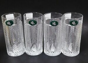 RALPH LAUREN SET OF 4 HERRINGBONE CLEAR CRYSTAL HIGHBALL GLASS GERMANY-13.5 OZ