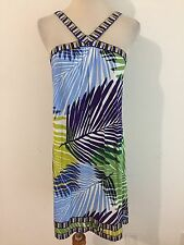 BCBG MAX AZRIA Sleeveless Halter Dress Cover-Up Purple Blue Green White Size M