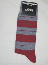 BNWT HUGO BOSS Mens Finest Soft Cotton Striped Socks Grey Red Size 8½ - 11