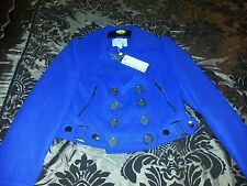 BNWT Tom Wolfe Military short double breasted jacket in Cobalt Blue size 10.