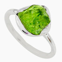 5.79cts Natural Green Peridot Rough 925 Silver Solitaire Ring Size 8 R64070