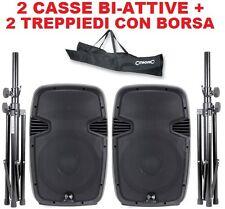 """COPPIA CASSE AMPLIFICATE ATTIVE 400W 8""""  + 2 STATIVI SUPPORTI CON BORSA omaggio"""