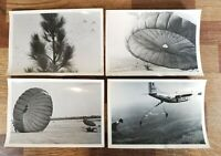 Lot of (4) Vintage 1940-50s WWII Era Military USAF Paratrooper Jump Photos