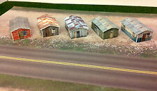 Z Scale Buildings - (5) Weathered Sheds  Cardstock kit set WP2
