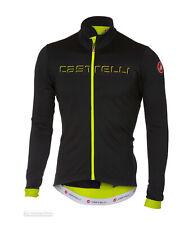 Castelli FONDO Thermal Long Sleeve Full Zip Cycling Jersey LT BLACK/YELLOW FLUO