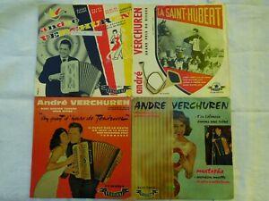 Lot de 15 disques 17cm dont 13 en 45 tours et 2 en 33T André Verchuren et Marcel