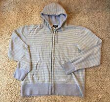 Men's Obey Grey And Khaki Stripes Sweatshirt Hoodie Zip Up XXL 2XL