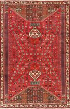 Vintage Animal Pictorial Geometric Tribal Kashkoli Area Rug Hand-made RED 7'x10'