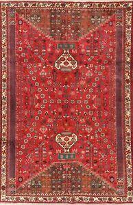 Vintage Animal Pictorial Geometric Tribal Kashkoli Area Rug Hand-made RED 7'x10'