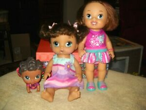 3 BABY ALIVE HISPANIC LOT~CRIB LIFE LULU~SNACKIN NOODLES-TALKS TO MOMMY OR DADDY