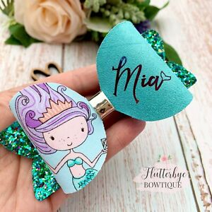 Large Personalised glitter Mermaid Hair Bow Clip made to order, Toddler Hair bow