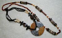 VINTAGE TO NOW BLACK & BROWN BEADED SHELL WOOD & LUCITE PENDANT NECKLACE LOT