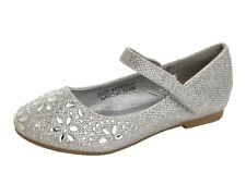 GIRLS SILVER GLITTER RHINESTONE BRIDESMAID WEDDING PARTY PUMPS SHOES KIDS SIZE