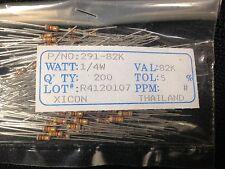 82K Ohm 1/4w 5% Tol. Xicon Carbon Film Resistor (200 Pieces) P/N 291-82K