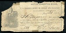 1862 5 CENTS E.V. JOHNSON'S OFFICE OF DEPOSIT & COLL. KINGSTON, GA OBSOLETE