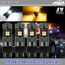 4x 3157 P27/5W T25 Switchback White/Amber Dual Color Led Turn Signal Light Bulbs(Fits: Neon)