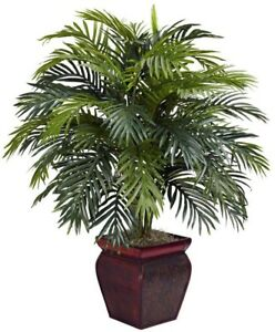 Artificial Plant 38 in. H Green Plastic Areca with Decorative Brown Planter
