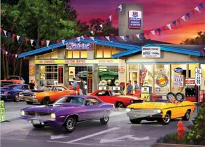 Jigsaw Puzzle Vehicle Route 66 Pit Stop Muscle Cars Cruising 1000 pieces NEW