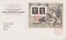 GB ROYAL MAIL FDC 1990 PENNY BLACK STAMP ANNIVERSARY SHEET LONDON PMK