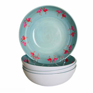Tommy Bahama Pink Flamingos Tropical Melamine Salad Soup Cereal Bowls Set of 4