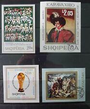Albania. 4 imperf. souvenir sheets 1973,74 Caravaggio, World cup, Albanian art.