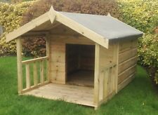 5x3 Wooden Dog Kennel With Veranda - Tanalised - Outdoor Yard Kennel Pet House