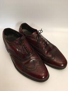 Vintage Florsheim Imperial 10 3E Burgundy Leather Soles Wingtips Oxfords 93327