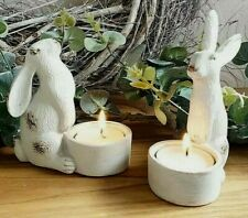 Tealight Holder Set of 2 Small White Resin Hares Xmas Gift Idea Candle Holder