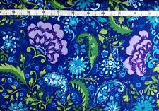 FreeSpirit THE PAINTED GARDEN Fabric (Blossom Pattern, Peacock Color) Per 1/2 Yd