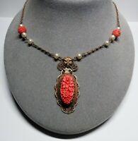 VTG Deco CZECHOSLOVAKIA Czech Brass Coral Molded Glass Lavalier Choker Necklace