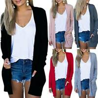 Womens Longline Jumper Long Sleeve Knit Sweater Cardigan Mid-Length Jacket Coat