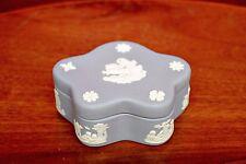 Vintage Wedgwood England Jewelry Trinket Box Blue Jasperware