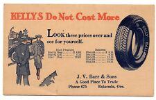 Advertising postcard KELLY TIRES prices 1900s car automobile Estacada Oregon EX