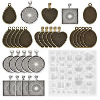 1Set DIY Resin Casting Molds Silicone Moulds Pendant Tray Jewelry Making_DD