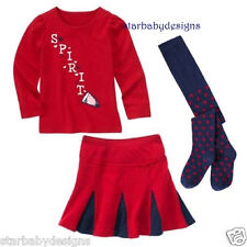 NWT Gymboree HOMECOMING KITTY Outfit Size 4 Top,SPIRIT,Skirt,Tights,Polka Dot