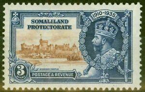 Somaliland 1935 3a Brown & Dp Blue SG88L Kite & Horiz Log Fine Mtd Mint
