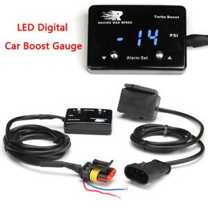 Mini Blue LED Digital Display Turbo Boost Pressure Gauge Diesel Petrol PSI