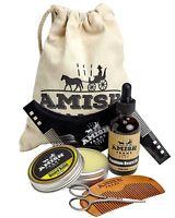 Amish Farms Beard Grooming Kit, 6 Piece Set – Leave In Beard Balm, Wooden...