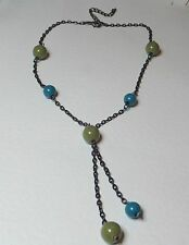 "SHORT OLIVE & TURQUOISE BERRY NECKLACE DANGLES CHAR BLACK PLATED 16 -18"" ACRYLIC"