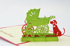 3D Pop Up Newborn Baby Puppy Cradle Dog Handmade Kirigami Greeting Card New Baby