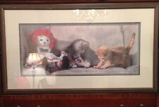 Partners in Crime Lesley Harrison S&N  framed print Raggedy Ann and kittens cats