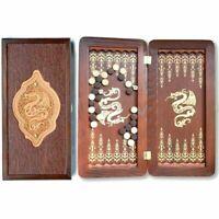 "Klassisch mittel NATUR HOLZ Backgammon Golden Dragon HANDARBEIT 400x400mm 16"""