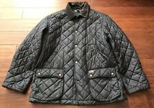 Ralph Lauren Polo Mens Blue Brown Quilted Leather Corduroy Coat Jacket Sz L