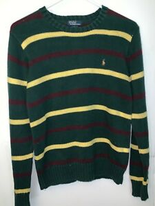 Ralph Lauren Polo Men's Knit Sweater Tight Fit [Green/ Burg/Yell/Striped] Size L